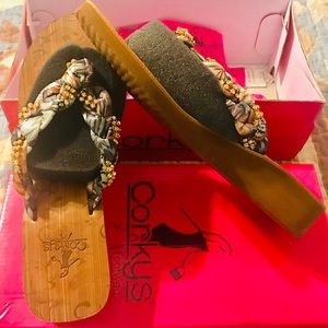 Corkys multicolor with bling flip flops
